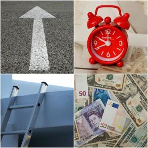 collage wecker Leiter Pfeil Währungen Gelscheine