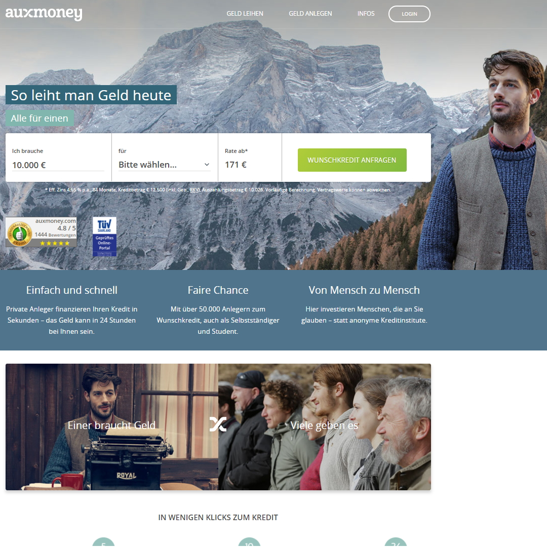 auxmoney homepage